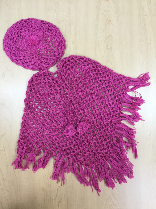 Alpaca Poncho and beret set for little girls